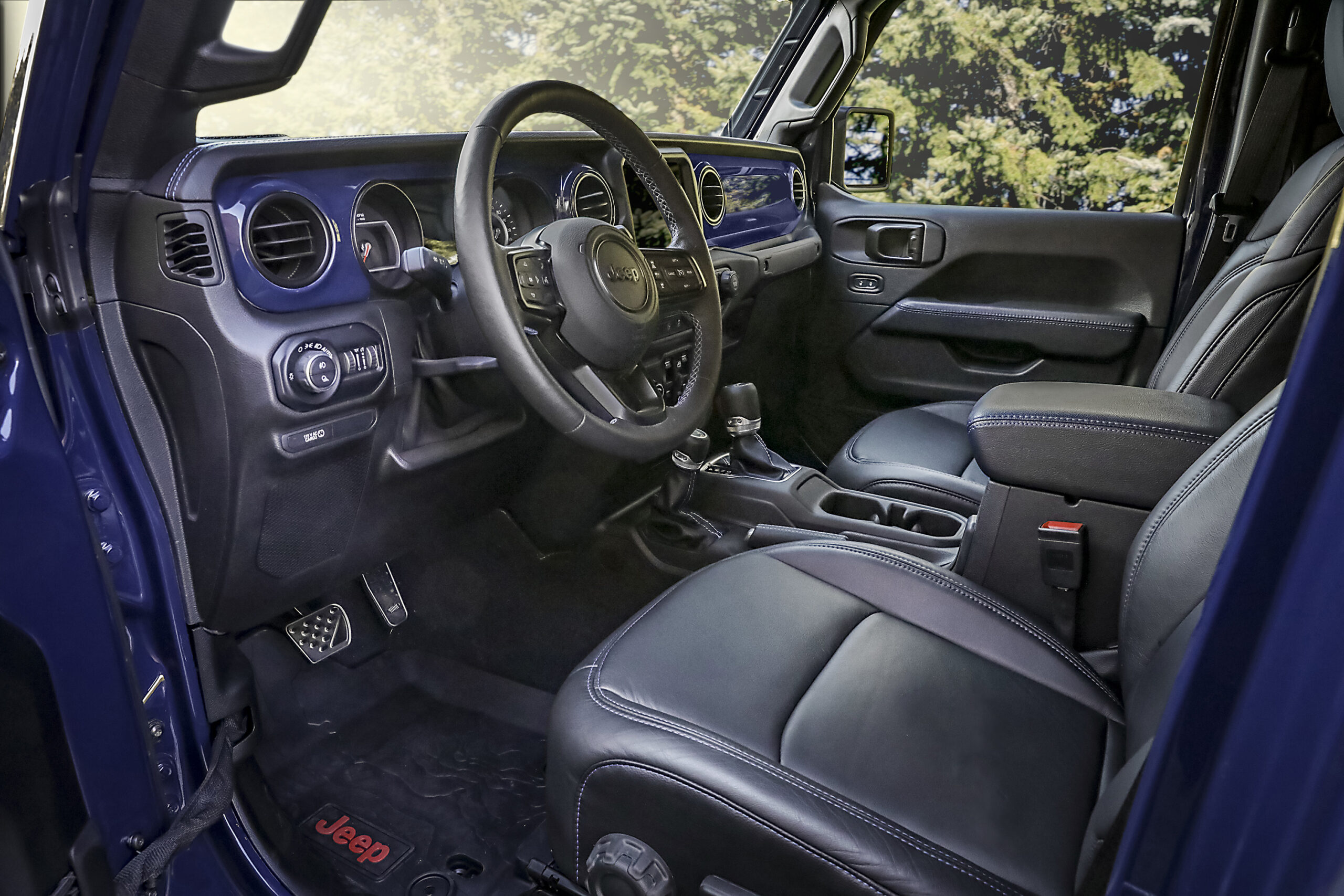 Inside the cabin of the Jeep Gladiator Top Dog concept, the exte